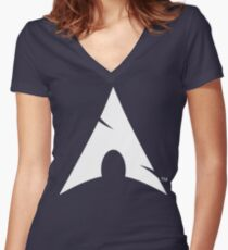 Big-A Arch Linux White Women's Fitted V-Neck T-Shirt