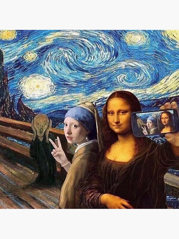 Scream and Selfie of Four classical paintings mash up - Mona Lisa, Girl with a Pearl Earring, The Scream, The Starry Night by MindChirp