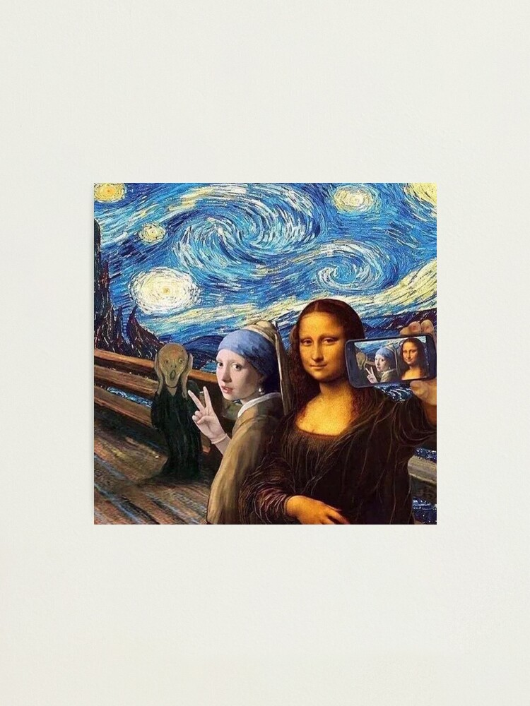 Alternate view of Scream and Selfie of Four classical paintings mash up - Mona Lisa, Girl with a Pearl Earring, The Scream, The Starry Night Photographic Print