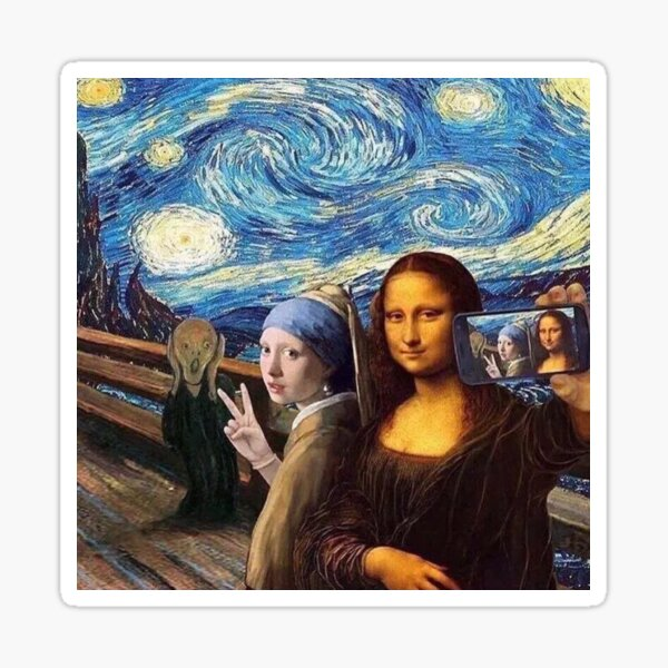 Scream and Selfie of Four classical paintings mash up - Mona Lisa, Girl with a Pearl Earring, The Scream, The Starry Night Sticker