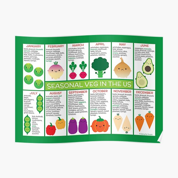 USA Seasonal Vegetables Chart Poster