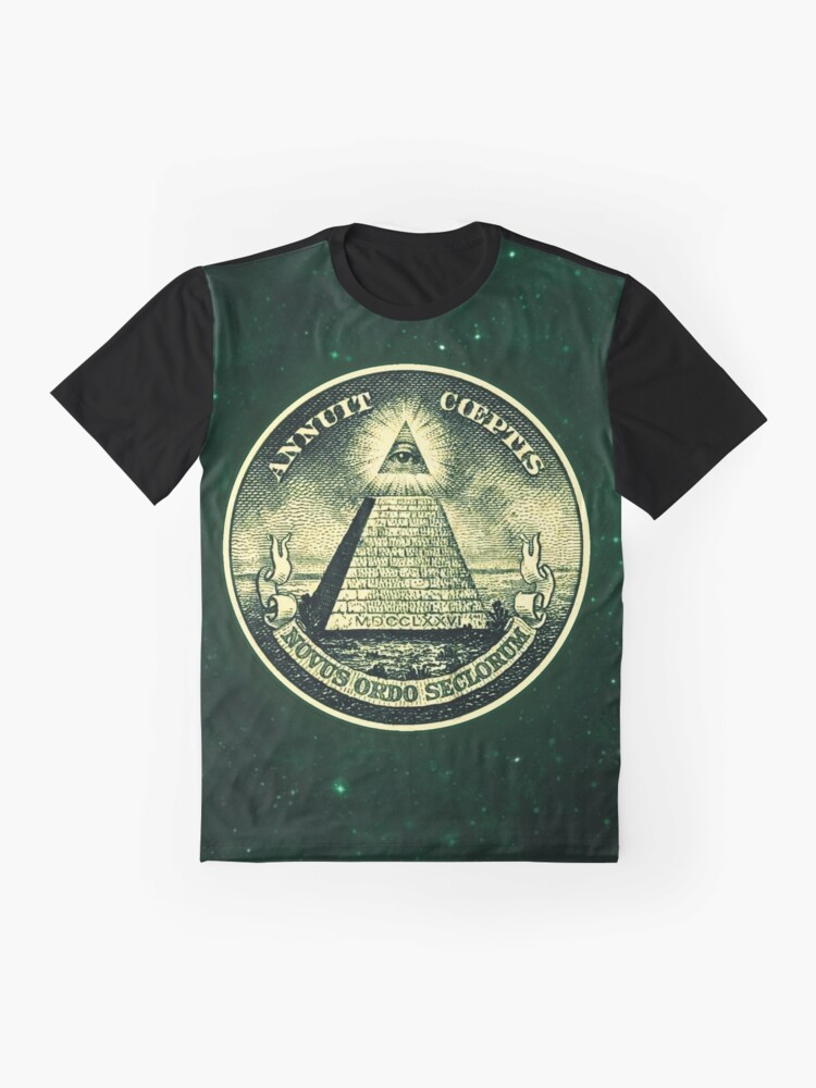 Alternate view of All seeing eye, pyramid, dollar, freemason, god Graphic T-Shirt