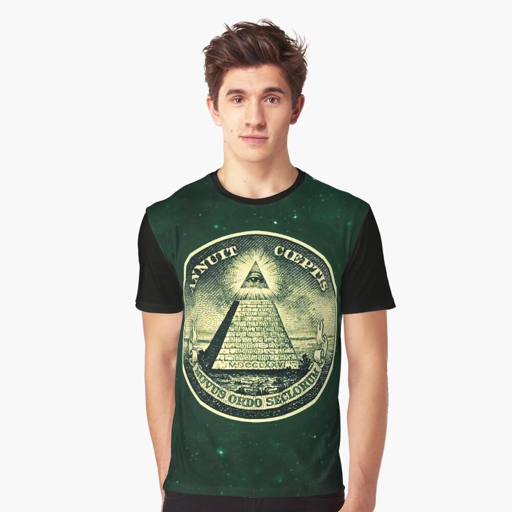All seeing eye, pyramid, dollar, freemason, god Graphic T-Shirt