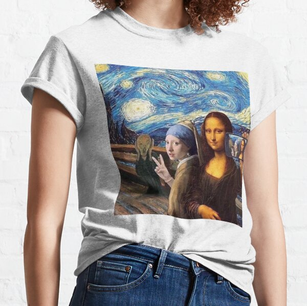 Scream and Selfie of Four classical paintings mash up - Mona Lisa, Girl with a Pearl Earring, The Scream, The Starry Night Classic T-Shirt