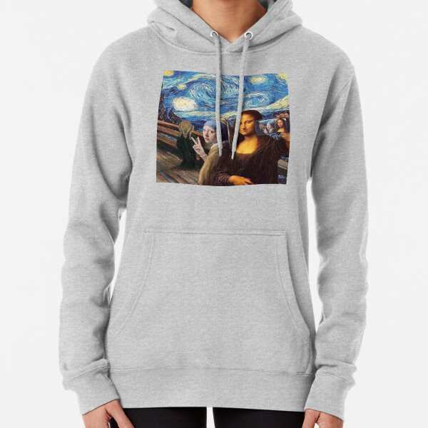 Scream and Selfie of Four classical paintings mash up - Mona Lisa, Girl with a Pearl Earring, The Scream, The Starry Night Pullover Hoodie