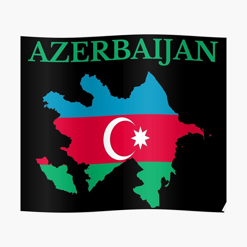 Azerbaijan Flag Map Postcard By Marosharaf Redbubble
