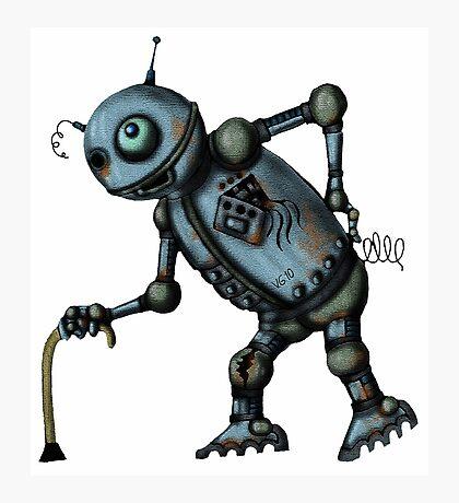Funny Old Robot cartoon drawing art Photographic Print