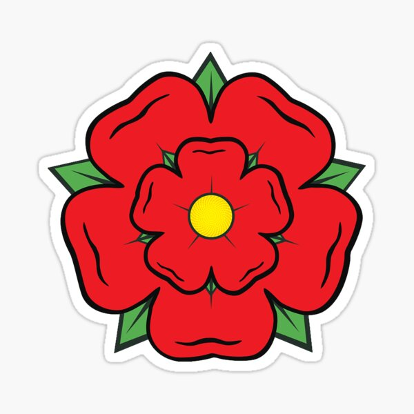 Lancashire. Red Rose. County, England, Heraldic, Heraldry. Sticker