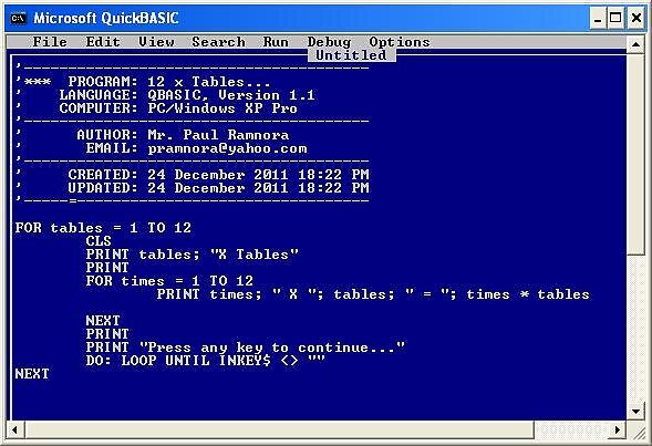 241211 - QBASIC 12 x Tables program  by paulramnora