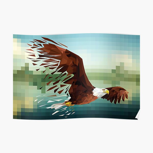 Low-Poly Bald Eagle Poster