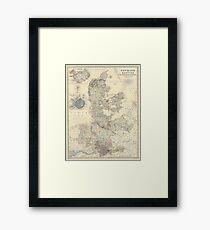 Vintage Map of Denmark (1861) Framed Print