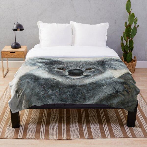 Koala Watercolor Art Throw Blanket