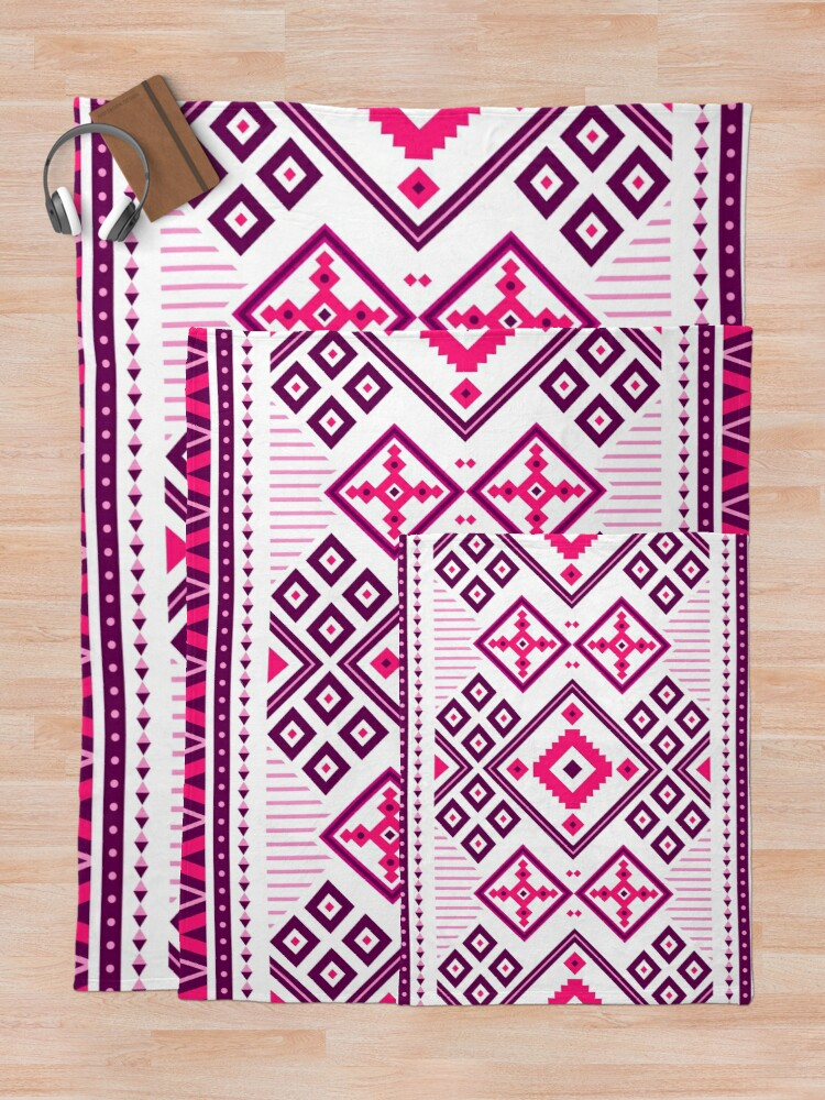 Alternate view of Glam Girly Moroccan Tribal Patchwork Fabric Pattern Throw Blanket