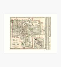 Vintage Map of Denver Colorado (1920) Art Print