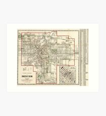 Vintage Map of Denver Colorado (1920) Art Print