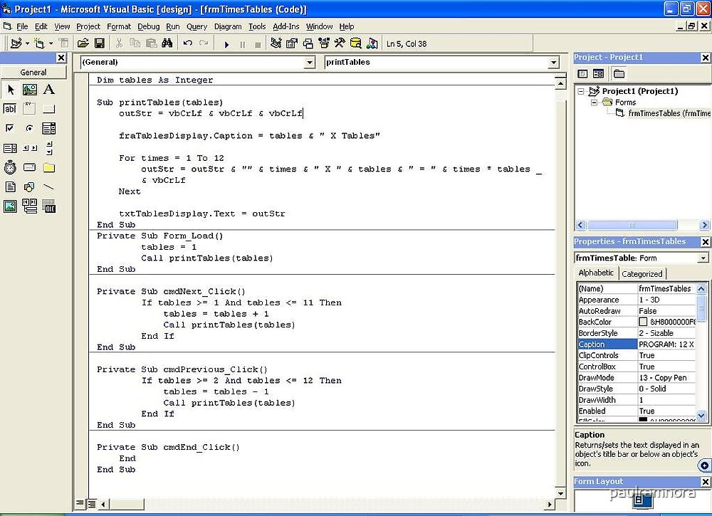 251211a - VB6 Times Tables program