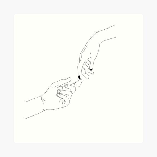 touching hands reaching out Art Print