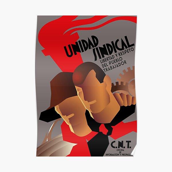 CNT Unidad Sindical - Guerra civil española, anarquista, socialista, izquierdista Póster