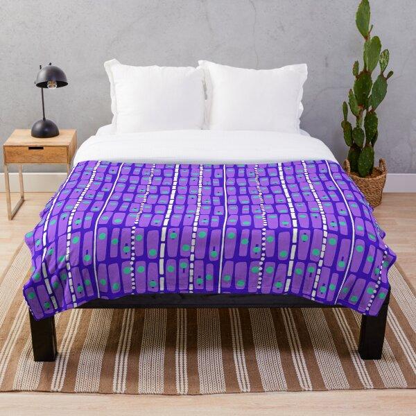 Geometric Wonkiness - Minty Green, Grape Violet, Amethyst Violet, White Throw Blanket