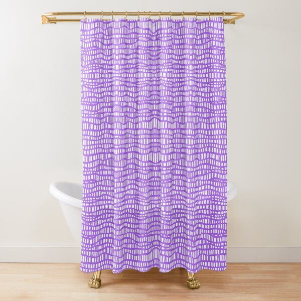 Boho Ladder Lace - Amethyst Violet on White Shower Curtain