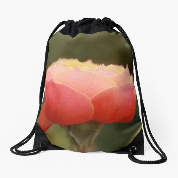 Coral & Pink Rose Drawstring Bag