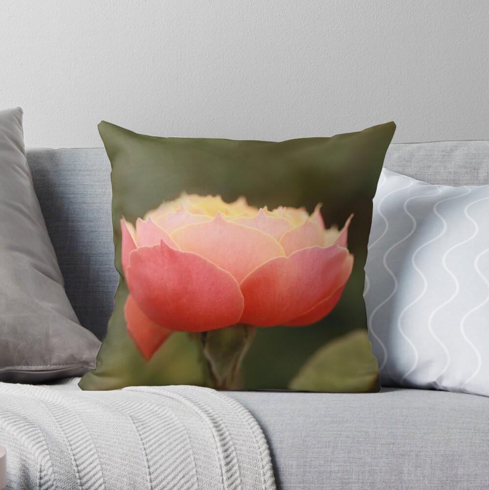 Coral & Pink Rose Throw Pillow