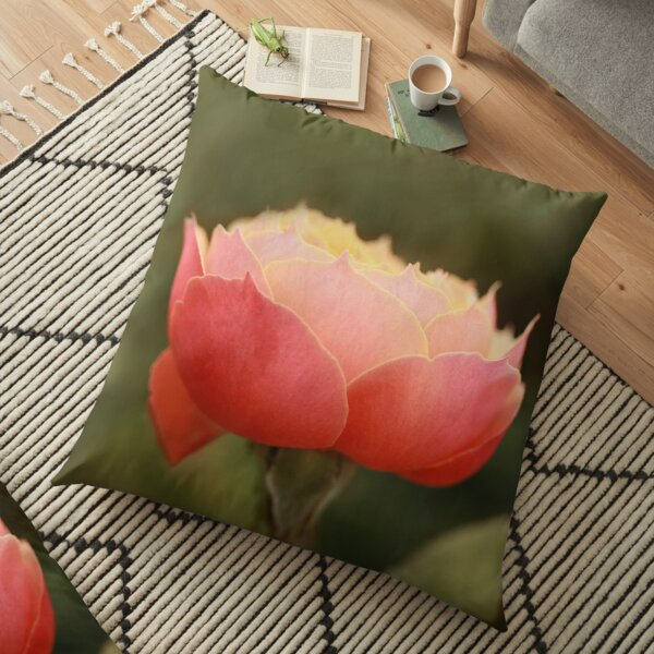 Coral & Pink Rose Floor Pillow