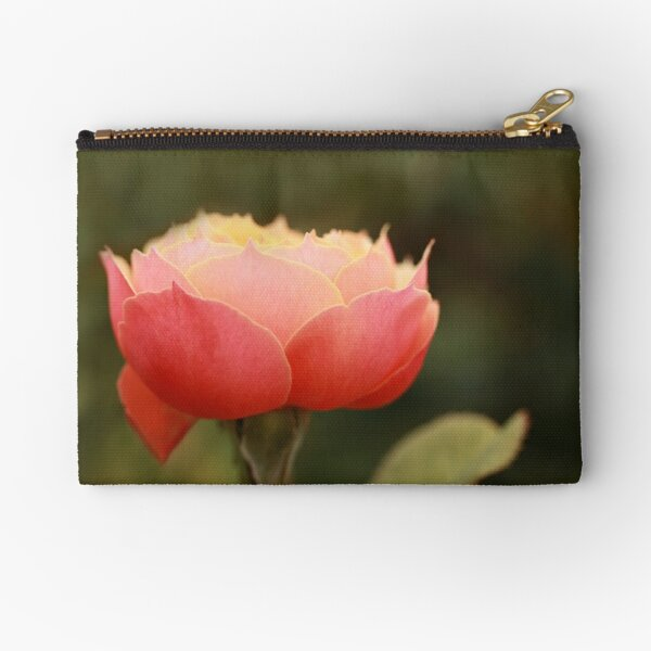 Coral & Pink Rose Zipper Pouch