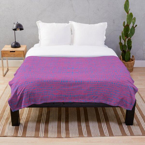 Boho Ladder Lace - Carnation Pink on Cornflower Blue Throw Blanket