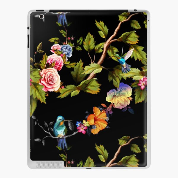 Humming bird, roses, peony with leaves on black. iPad Skin