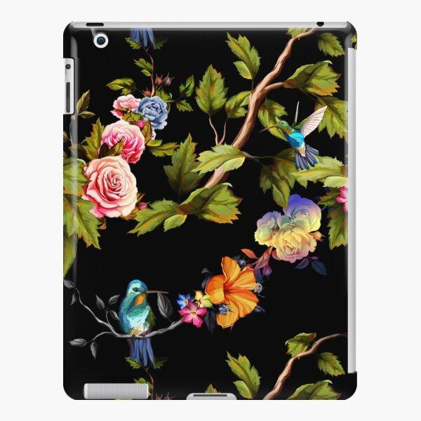 Kolibri, Rosen, Pfingstrose mit Blättern auf Schwarz. iPad – Leichte Hülle