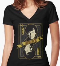 221B Playing Card Women's Fitted V-Neck T-Shirt