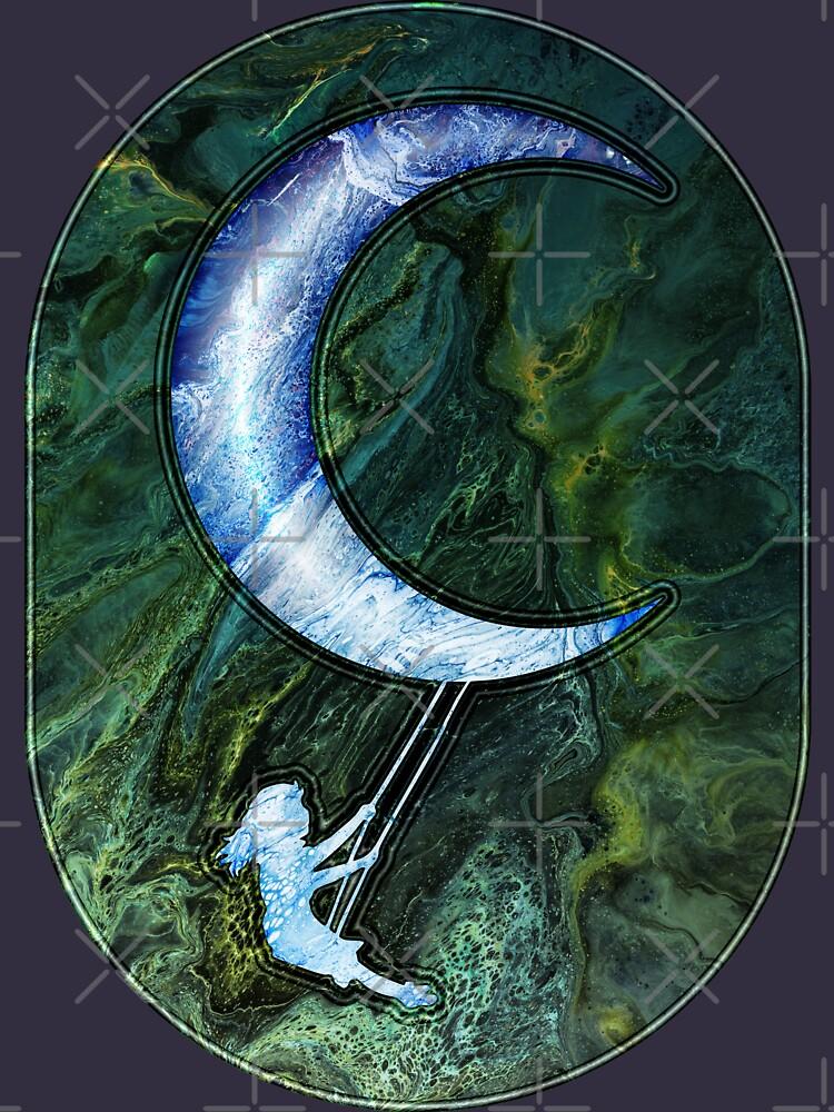 Girl Swinging On Moon by kerravonsen