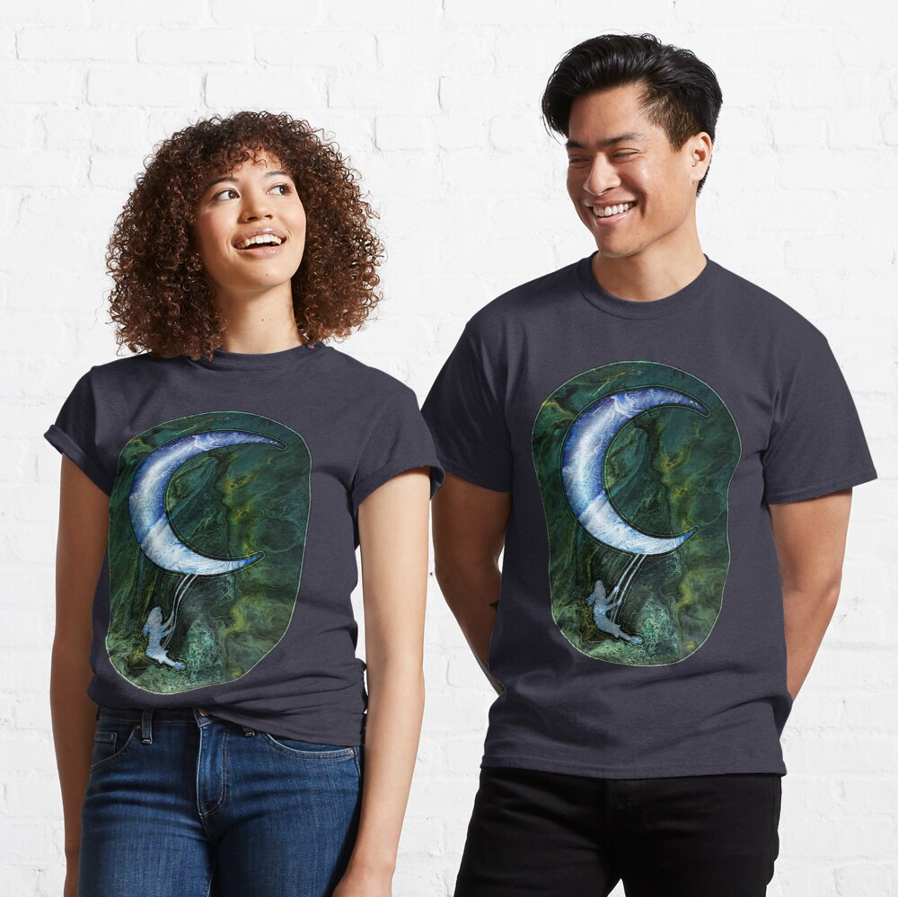 Girl Swinging On Moon Classic T-Shirt