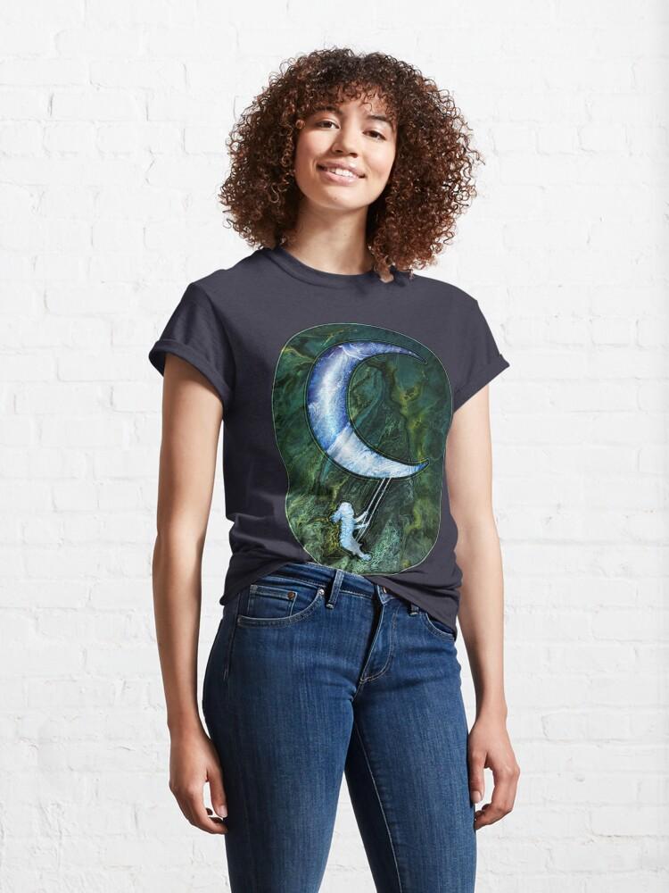 Alternate view of Girl Swinging On Moon Classic T-Shirt