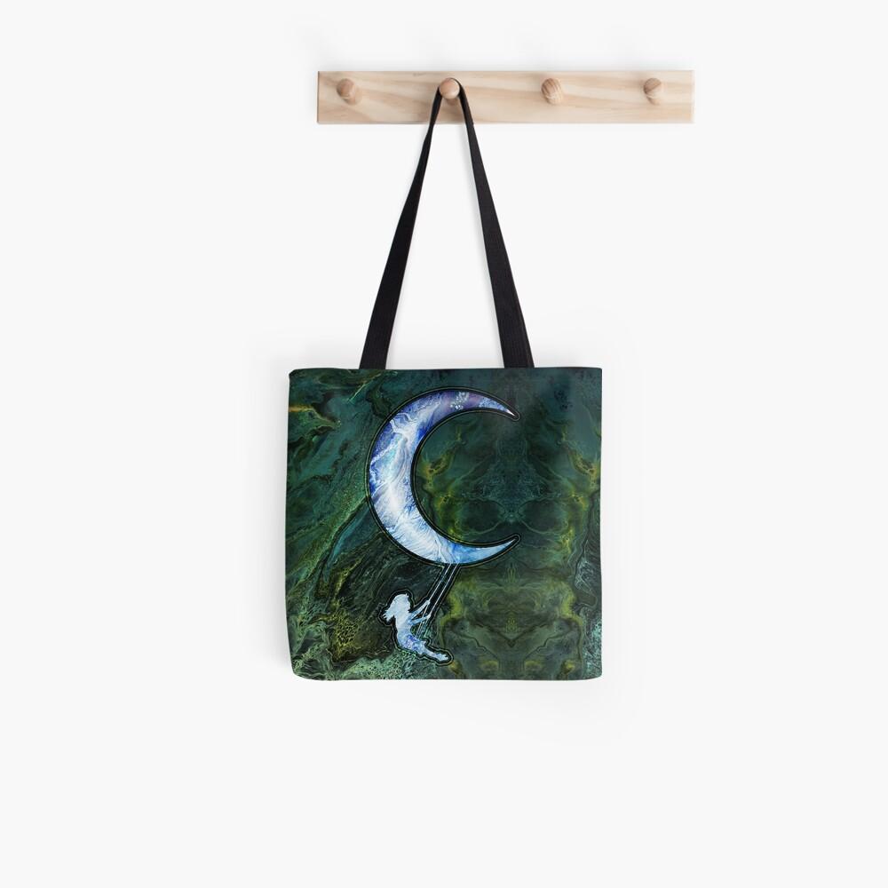 Girl Swinging On Moon Tote Bag