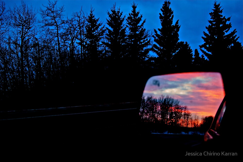 Sun Rising in my Rear View - Alberta Canada by Jessica Chirino Karran