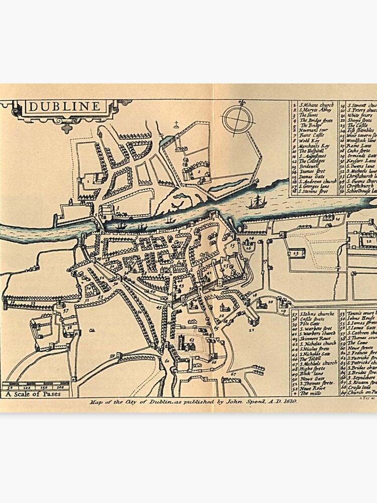 Map Of Dublin 3 Ireland.Vintage Map Of Dublin Ireland 1610 Canvas Print