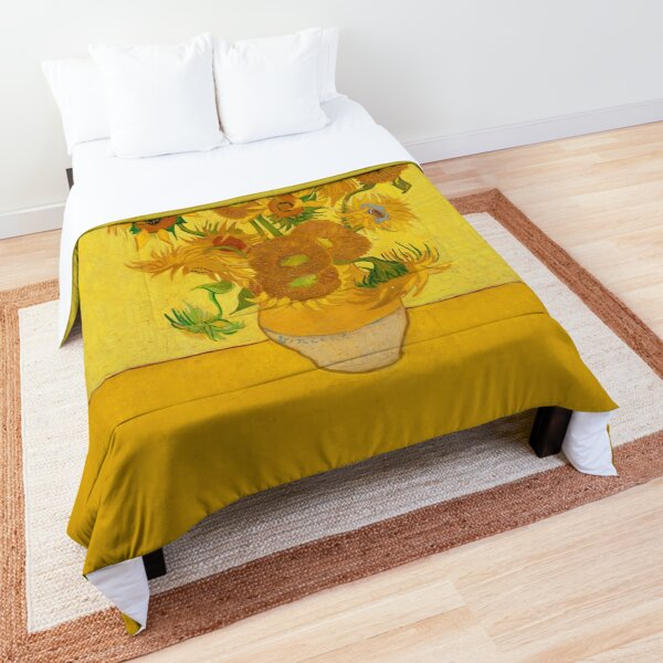 Vincent Van Gogh Sunflowers Famous Painting Yellow Sun Flowers HD Comforter
