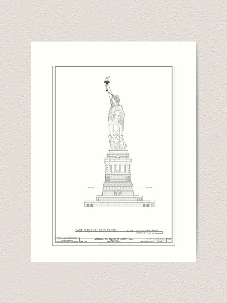 Alternate view of Statue of Liberty Blueprint  Art Print