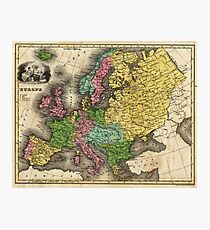 Vintage Map of Europe (1842) Photographic Print