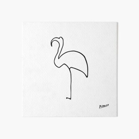 Pablo Picasso Line Art flamingo Artwork Sketch black and white Hand Drawn ink Silhouette HD High Quality Art Board Print