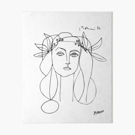 Pablo Picasso Line Art woman with flowers in hair Artwork Sketch black and white Hand Drawn ink Silhouette HD High Quality Art Board Print