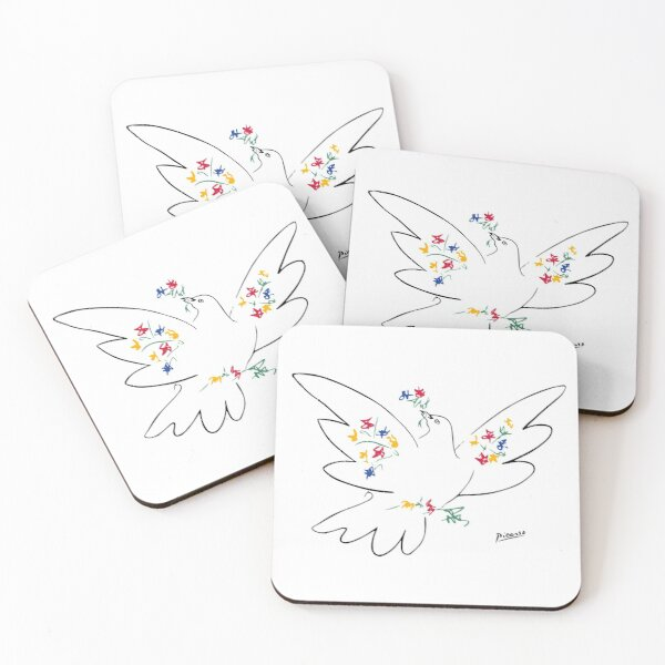 Pablo Picasso Line Art Dove of Peace with Colorful Flowers Naive Artwork Sketch Hand Drawn ink Silhouette HD High Quality Coasters (Set of 4)