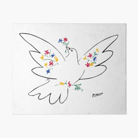 Pablo Picasso Line Art Dove of Peace with Colorful Flowers Naive Artwork Sketch Hand Drawn ink Silhouette HD High Quality Art Board Print