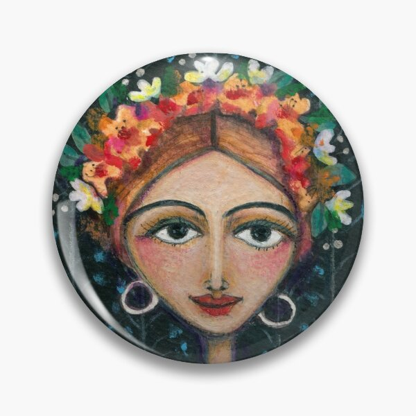 Frida Kahlo with Birds in Blue Dress Pin