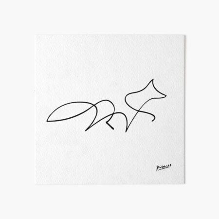 Pablo Picasso Line Art Wild Walking Fox Artwork Sketch black and white Hand Drawn ink Silhouette HD High Quality Art Board Print