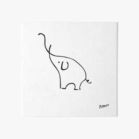 Pablo Picasso Line Art Cute Elephant Artwork Sketch black and white Hand Drawn ink Silhouette HD High Quality Art Board Print