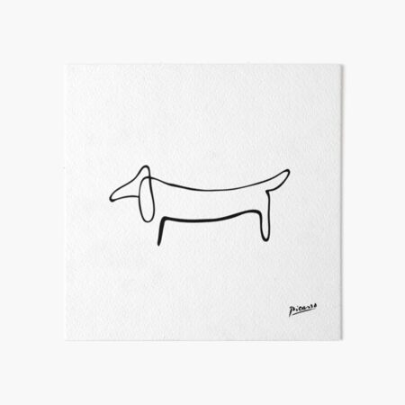 Pablo Picasso Line Art Wild Wiener Dog Dachshund Artwork Sketch black and white Hand Drawn ink Silhouette HD High Quality Art Board Print