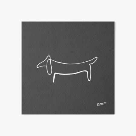 Pablo Picasso Line Art Wild Wiener Dog Dachshund Artwork Sketch black and white Hand Drawn ink Silhouette charcoal gray HD High Quality Art Board Print